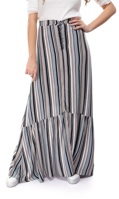 47015 Striped Slip On Multicolour Maxi Skirt