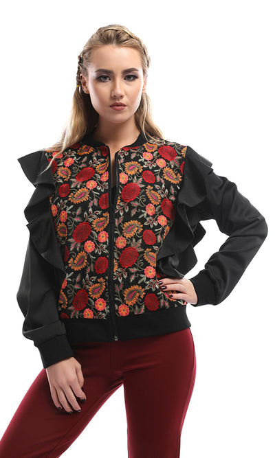 47016 Ruffled Floral Zipped Unique Cropped Black Jacket