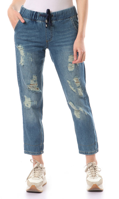 47020 Medium Wash Distressed Boyfriend Jeans