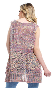 47027 Colorful Knitted Slip On Sleeveless Open Neckline Cardigan - Multicolour