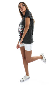 47034 Back Cuts Printed Women T-Shirt - Dark Grey