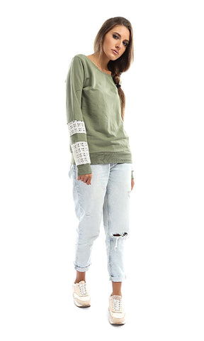 47045 Plain Sweatshirt With Lace Sleeves - Olive