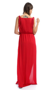 Knitted Neck With Fringed Red Maxi Dress