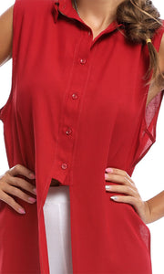 47059 Burgundy Button-up High-low Tunic Top