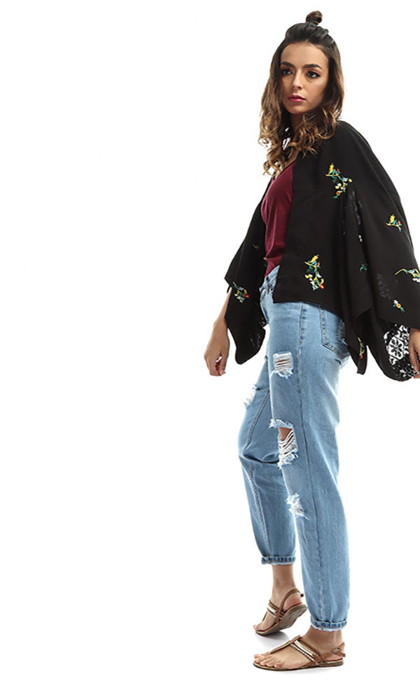 Floral Cropped Cardigan - Black