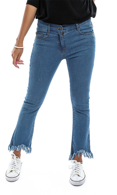 47082 Ripped Fringes Ankel Women Jeans - Blue