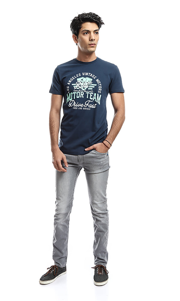 Printed Short Sleeves T-shirt - Navy