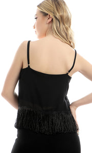 47100 Fringes Spaghetti Sleeves Crop Top - Black