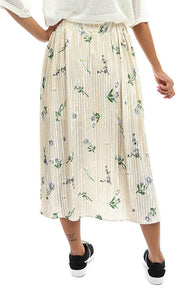 47151 Floral Midi Slip On Skirt - Off White