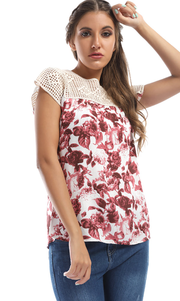 Suits You Perfectly With Floral Print Maroon Crochet Collar Top