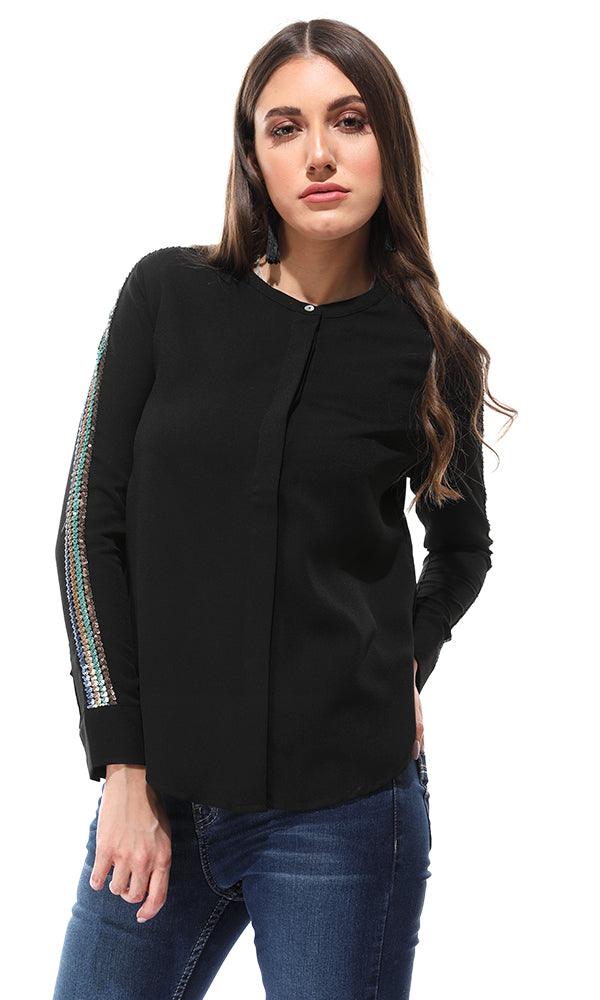 Sequins Sleeves Buttoned Black Shirt