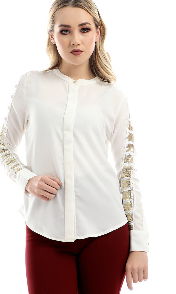 Strassed Sleeve Side Round Collar - Off White