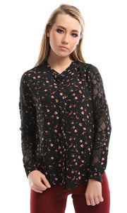 47173 Mesh SLeeves Floral Black Blouse