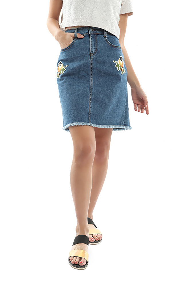 Birds Patch Unfinshed Jeans Skirt