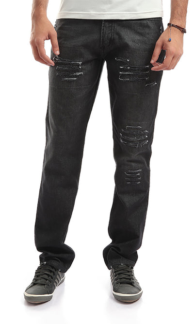 47199 Slim Fit Ripped Wash Out Jeans - Heather Black