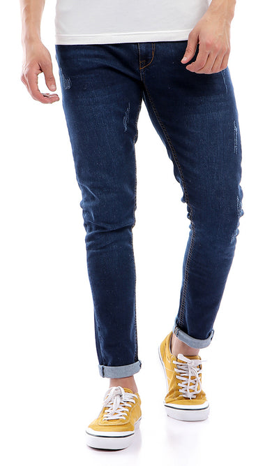 47200 Skinny Fit Stitched Front Pocket Casual Jeans - Dark Blue Jeans