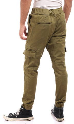 47204 Relaxed Pants With Hem Ends - Olive