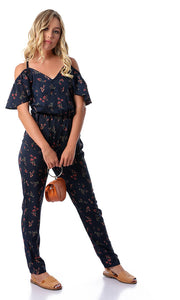 47223 Floral Jumpsuit - Navy Blue