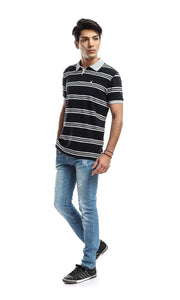 47249 Striped Short Sleeved T-shirt - Black