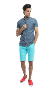 47268 Buttoned Casual Solid Shirt - Blue
