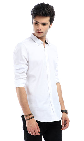 47274 Self Striped Formal White Long Sleeves Shirt