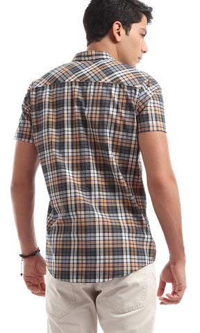 47275 Casual Short Sleeves Checkered Shirt - Multicolour