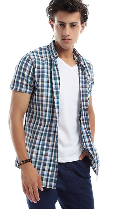 47277 Checkered Long Sleeves Trendy Steel Blue & Brown Shirt