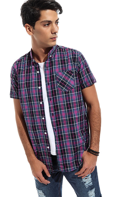 47278 Checkered Short Sleeves Casual Shirt - Light Purple & Black