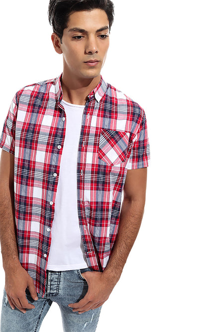47281 Buttoned Checkered Short Sleeves Shirt - Light Red & Navy Blue