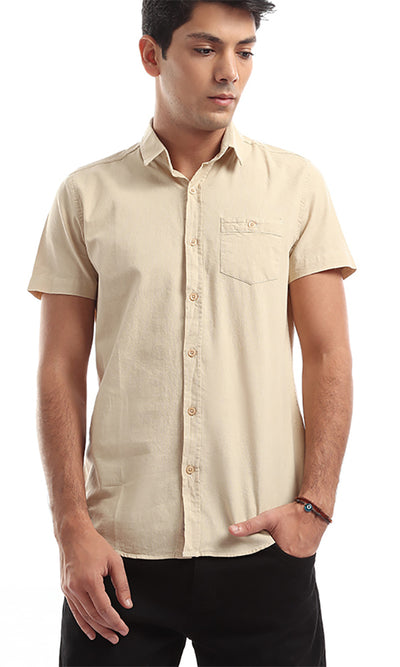 47283 Unique Solid Short Sleeves Beige Shirt