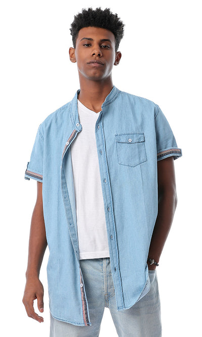 47288 Mandarin Collar Light Blue Jeans Denim Shirt
