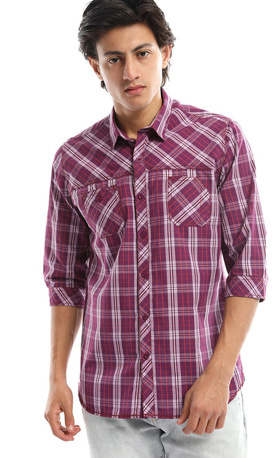 47291 Plaided 3/4 Sleeves Turned Down Collar Dark Purple Shirt