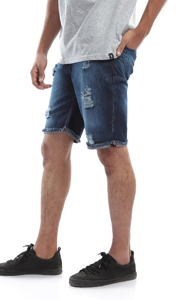 Casual Folded Back Ribbed Jeans Shorts - Blue