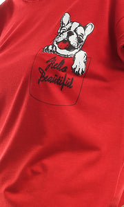 47311 Dog Printed Hot Red T-Shirt