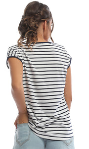 47312 Candy Stripe Navy Blue Multi Striped Tee