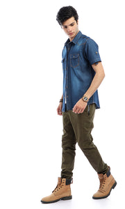 47314 Basic Short Sleeves Casual Buttoned Dark Blue Jeans Shirt