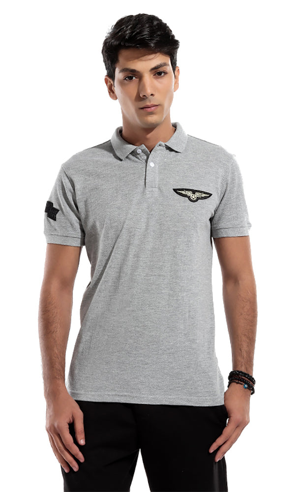 Printed Polo T-Shirt - Grey