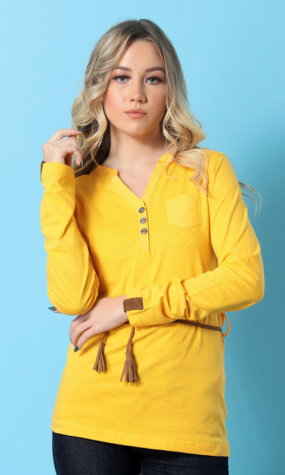Solid Basic Buttoned Women Top - Mustard - women t-shirts