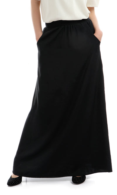 47449 Unique Zipped Cut Solid Classic Skirt