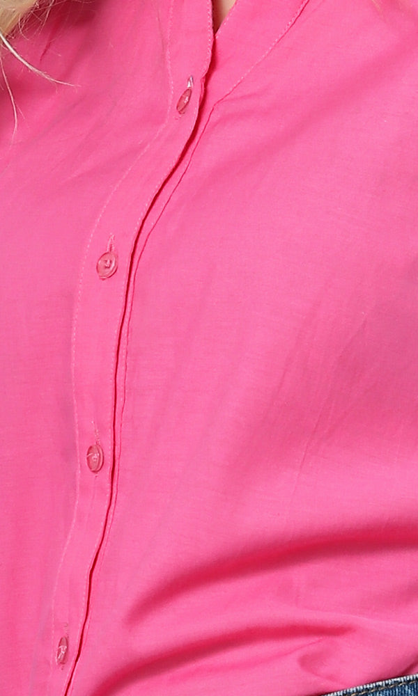 Sleeveless Buttoned Plain Shirt - Fuchsia