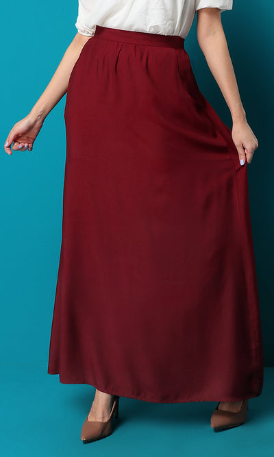 47455 Maroon Red Maxi Solid Skirt