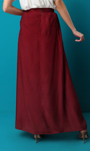 47455 Maroon Red Maxi Solid Basic Skirt