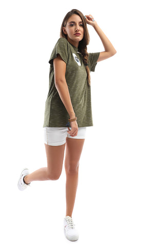 47485 Eyes Print Heather Olive Green Tee