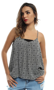 47502 Patterned Women Casual Top - Black