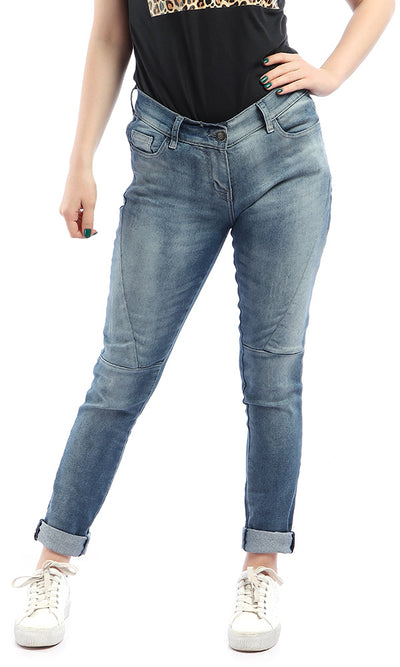 47520 Skinny Fit Wash Out Solid Jeans - Light Blue Jeans