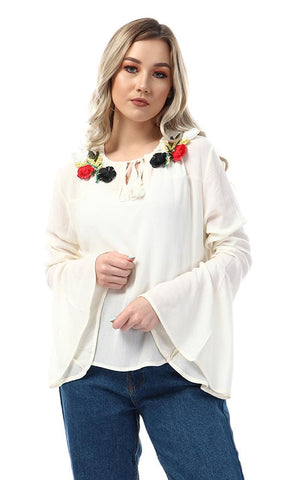 47526 Stitched Flowers Bell Sleeves Off White Blouse - Ravin