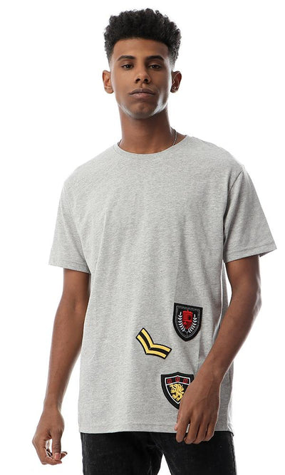 47544 Decorative Patches Short Sleeves Grey T-shirt - Ravin