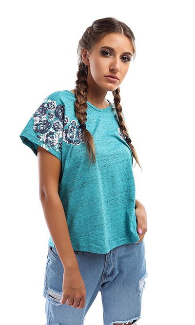 47598 Floral Casual Summer Top - Turqouise
