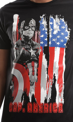 47647 Captain America Printed Rounded Black Tee