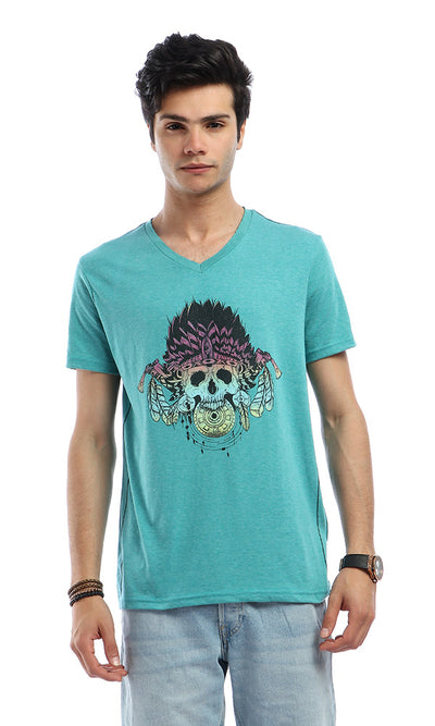 47650 Colorful Skull Print Round Neck Heather Teal Green T-shirt